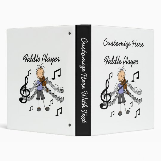 Stick Figure Girl Fiddle Player Tshirts and Gifts Binder