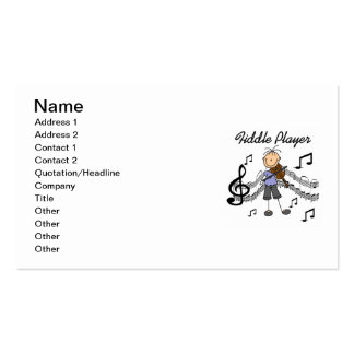 Stick Figure Girl Fiddle Player Tshirts and Gifts Business Card