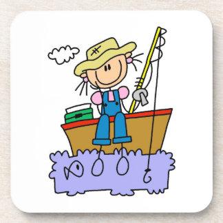 Stick Figure Girl Fishing Coaster
