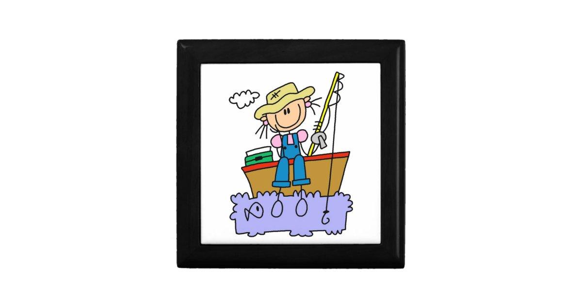 Stick figure girl fishing gift box zazzle for Fishing gift box
