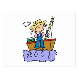 Stick Figure Girl Fishing Postcard