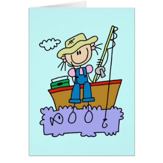 Stick Figure Girl Fishing T-shirts and Gifts Cards