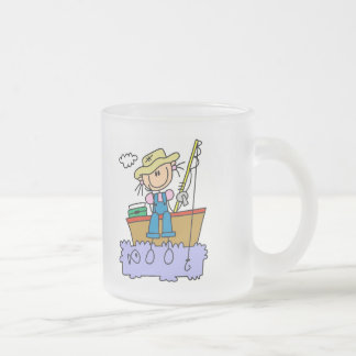 Stick Figure Girl Fishing T-shirts and Gifts Frosted Glass Coffee Mug