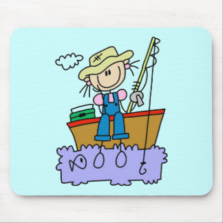 Stick Figure Girl Fishing T-shirts and Gifts Mouse Pad