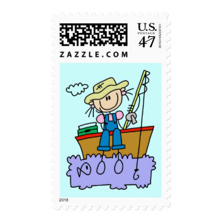 Stick Figure Girl Fishing T-shirts and Gifts Postage