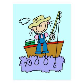 Stick Figure Girl Fishing T-shirts and Gifts Postcard