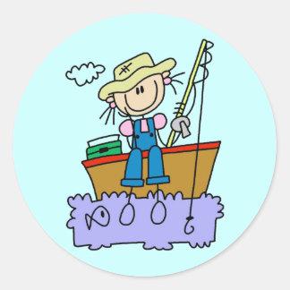 Stick Figure Girl Fishing T-shirts and Gifts Sticker