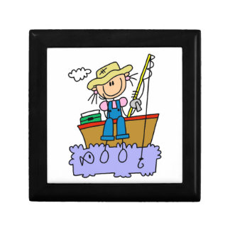 Stick Figure Girl Fishing Trinket Box