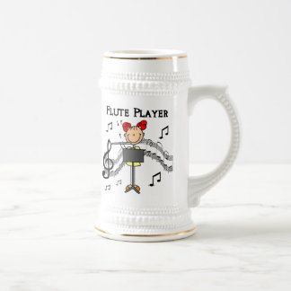 Stick Figure Girl Flute Player Tshirts and Gifts 18 Oz Beer Stein