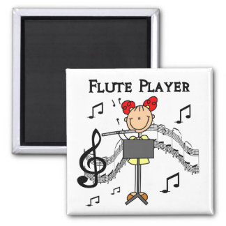 Stick Figure Girl Flute Player Tshirts and Gifts 2 Inch Square Magnet