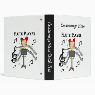 Stick Figure Girl Flute Player Tshirts and Gifts 3 Ring Binder