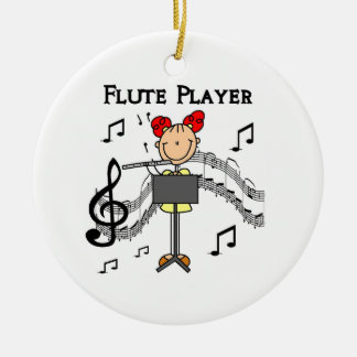 Stick Figure Girl Flute Player Tshirts and Gifts Ceramic Ornament