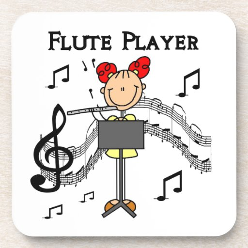 Stick Figure Girl Flute Player Tshirts and Gifts Coaster