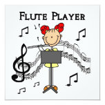 Stick Figure Girl Flute Player Tshirts and Gifts Personalized Invitations