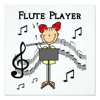 """Stick Figure Girl Flute Player Tshirts and Gifts 5.25"""" Square Invitation Card"""