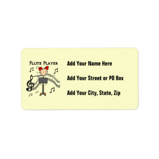 Stick Figure Girl Flute Player Tshirts and Gifts Label