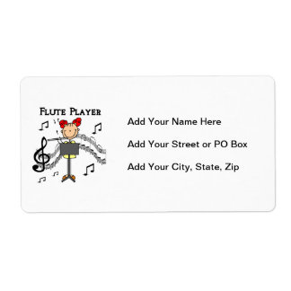 Stick Figure Girl Flute Player Tshirts and Gifts Personalized Shipping Labels