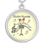 Stick Figure Girl Flute Player Tshirts and Gifts Custom Necklace