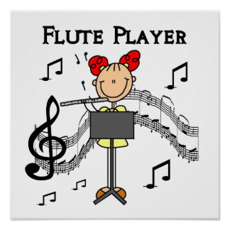 Stick Figure Girl Flute Player Tshirts and Gifts Poster