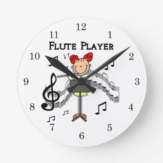 Stick Figure Girl Flute Player Tshirts and Gifts Round Clock