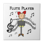 Stick Figure Girl Flute Player Tshirts and Gifts Ceramic Tiles