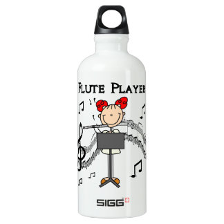 Stick Figure Girl Flute Player Tshirts and Water Bottle