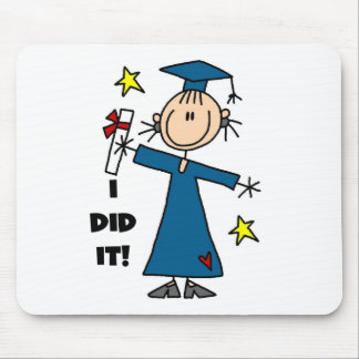 Stick Figure Girl Graduate T-shirts and Gifts Mouse Pad