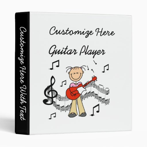 Stick Figure Girl Guitar Player T-shirts and Gifts Vinyl Binder