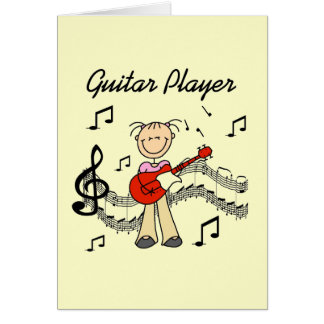 Stick Figure Girl Guitar Player T-shirts and Gifts Card