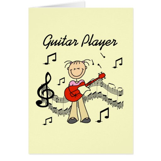 Stick Figure Girl Guitar Player T-shirts and Gifts Greeting Card