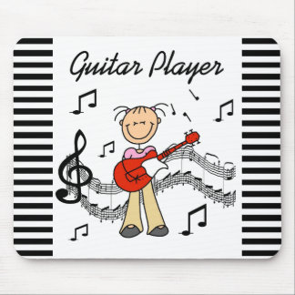 Stick Figure Girl Guitar Player T-shirts and Gifts Mouse Pad