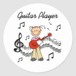 Stick Figure Girl Guitar Player T-shirts and Gifts Round Sticker