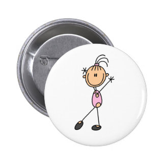 Stick Figure Girl Gymnast in Pink Button