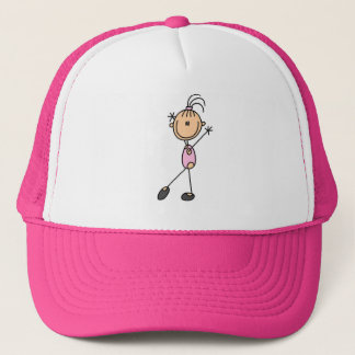 Stick Figure Girl Gymnast in Pink Hats