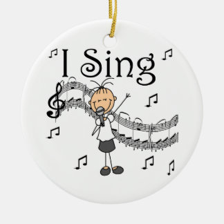 Stick Figure Girl I Sing T-shirts and Gifts Ceramic Ornament