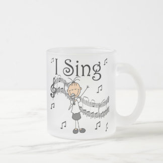 Stick Figure Girl I Sing T-shirts and Gifts Frosted Glass Coffee Mug