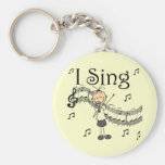 Stick Figure Girl I Sing T-shirts and Gifts Key Chains