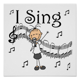 Stick Figure Girl I Sing T-shirts and Gifts Poster
