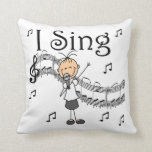 Stick Figure Girl I Sing T-shirts and Gifts Throw Pillow