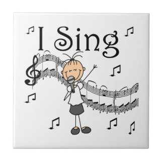 Stick Figure Girl I Sing T-shirts and Gifts Tile