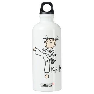 Stick Figure Girl Karate T-shirts and Aluminum Water Bottle