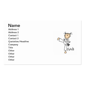 Stick Figure Girl Karate T-shirts and Gifts Business Card