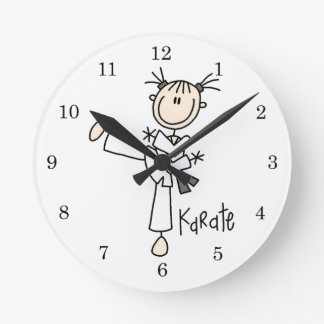 Stick Figure Girl Karate T-shirts and Gifts Round Clocks