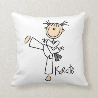 Stick Figure Girl Karate T-shirts and Gifts Pillow