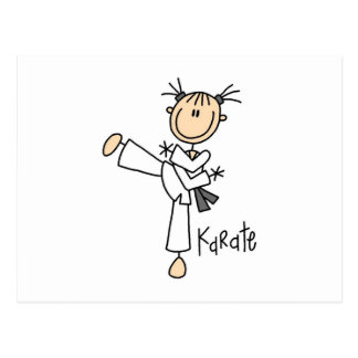 Stick Figure Girl Karate T-shirts and Gifts Postcard