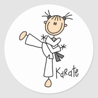 Stick Figure Girl Karate T-shirts and Gifts Classic Round Sticker