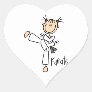 Stick Figure Girl Karate T-shirts and Gifts Heart Sticker