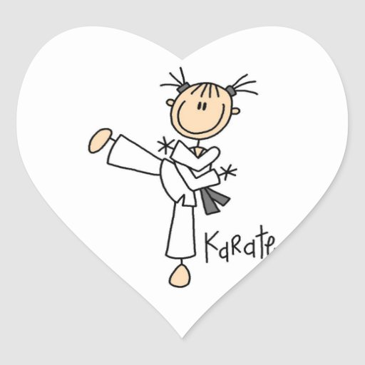 Stick Figure Girl Karate T-shirts and Gifts Heart Stickers