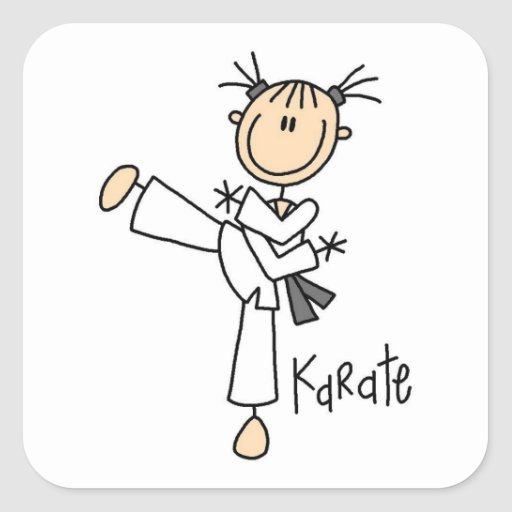 Stick Figure Girl Karate T-shirts and Gifts Square Sticker