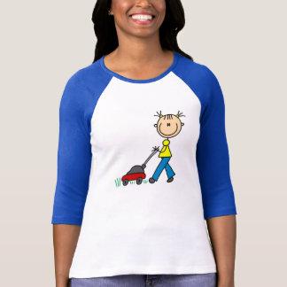 Stick Figure Girl Mowing Grass T-shirts